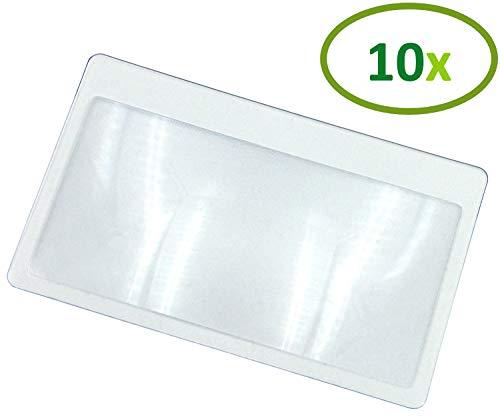 Thorani Lupa de bolsillo en formato de tarjeta de crédito/lupa de aumento con 3 aumentos, ultra delgada, flexible e inastillable - 10 piezas