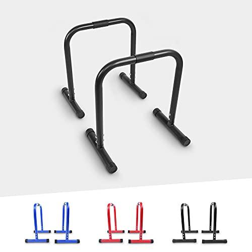 GORILLA SPORTS® Dip Barren 2er Set 30 cm/73 cm/94 cm – Push Up Stand Bar in 3 verschiedenen Größen und Farben bis 200 kg belastbar (61 x 38 x 73 cm, Schwarz)