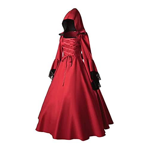 XLNB Disfraces de Halloween para Mujer, Disfraz Medieval, Vestido gtico con Capucha, Disfraz de Princesa renacentista,Rojo,Smll