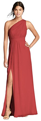 David's Bridal Long One-Shoulder Crinkle Chiffon Bridesmaid Dress Style F18055, Guava, 16