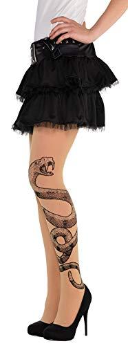 Amscan 847880-55 - Strumpfhose Schlange, Strümpfe, Socken, Feinstrumpfhose mit Motiv, Tattoo, Rock Star, Punk, Damen, Erwachsene, Halloween, Karneval, Mottoparty