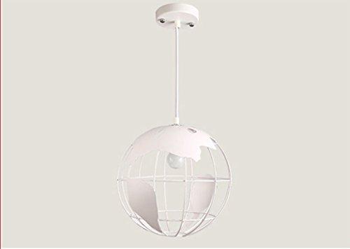 Rventric Lustre Industriel Plafonnier Fer Globe Forme Café Salon Loft Espace Personnalisé Multi-Purpose Fil Suspendu Réglable 1 Source De Lumière (sans Les Ampoules),White