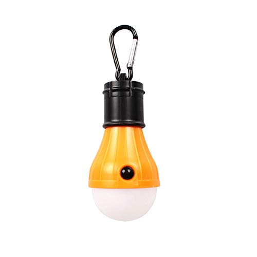 Apofly 1PC Portable Bulb Tent Light Dimmable Bulb Light with Hook Hanging LED Tent Lamp Battery Powered Camp Lamp for Outdoor Yellow