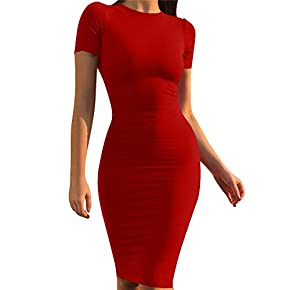 GOBLES Women's Short Sleeve Casual Bodycon Midi Elegant Cocktail Party Dress