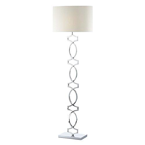DAR DONOVAN - Lámpara de pie Cromo pulido completa con pantalla redonda