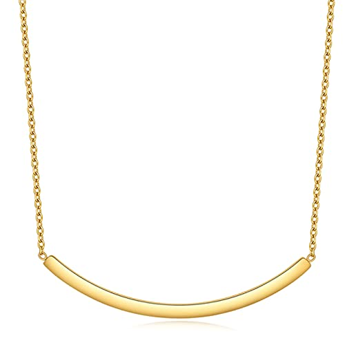 collar Collar De Lariat De Acero Inoxidable, Collar Geométrico Con Dije Flotante, Joyería, Cadena De Color Dorado, Collares De Barra Curvada Para Mujeres Y Niñas