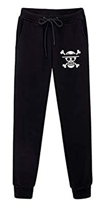 Gumstyle One Piece Luffy Anime Sweatpants Joggers Elastic Waist Pants Cosplay Costume Sport Jersey Trousers Black/3 L