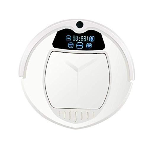 CHUTD Aspirador Robot 3 en 1, Aspirador de succión Ultra silencioso y Fuerte, con conectividad de Control Remoto, Modos de Limpieza múltiple anticolisión ultradelgada de 90 mm, Blanco (Color: blan