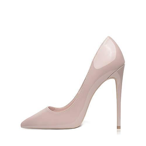 GENSHUO stiletto högklackade, 12 cm/4,72 tum dam pumps party high heels sexig basic skor dam slutna aftonskor lack/mocka, 35EU-40 EU (NAKEN, 37)