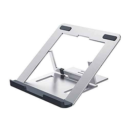 """ZHAOMAI Portable laptop stand foldable,Aluminum Alloy Ergonomic 6 Level Height Adjustable,Lightweight Computer Riser,Anti-slip Pads and Heat-Vent Design,Compatible with 10-14"""" notebook"""