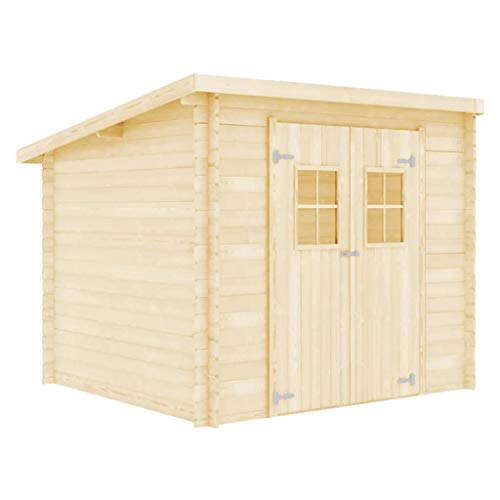 vidaXL Solid Wood Log Cabin Weather Resistant Outdoor Garden House Timber Shed Tool Storage Building 28mm 3.3x2.6m
