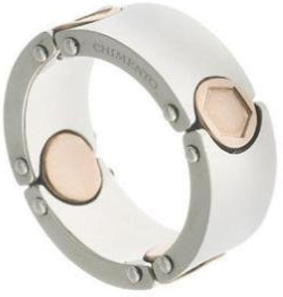 Chimento,anello in acciaio inossidabile con inserti in acciaio trattamento ip rose` CH3AX5353ZZ7200