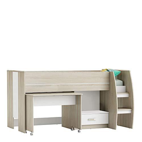 habeig Kinderbett Bett #655 Hochbett Spielbett mit Schubfach und Schreibtisch unterm Bett weiß mit Lattenrost