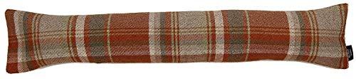 McAlister Textiles Heritage | Zugluftstopper mit Füllung im Tartan-Muster kariert 18cm x 90cm in Terracotta Orange | Deko Windstopper für Fenster, Türen im Schottenkaro, Tweed