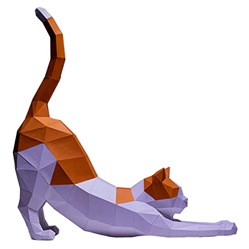 WLL-DP Estirar Gato Escultura De Papel De Bricolaje Juego Hecho A Mano Modelo De Papel 3D Decoración Geométrica del Hogar Adornos Rompecabezas De Origami Juguete De Papel Creativo Papercraft