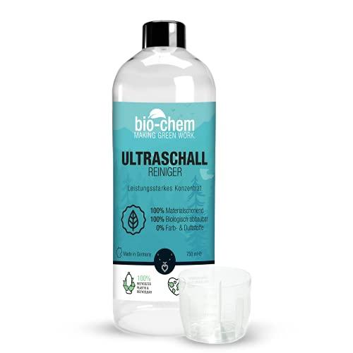 bio-chem Bio Ultraschallreiniger Konzentrat 750 ml inkl. Dosierbecher, geruchsfrei, alkoholfrei, Reinigungszusatz für Ultraschallgeräte/Ultrasonic-Cleaner für Brillen, Schmuck u.v.m.