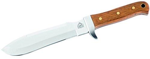 Puma Tec Erwachsene Outdoormesser, AISI 420 Stahl, Palisandergriff, Beilschneide, Anreißzahnung, Lederscheide Jagd, Mehrfarbig, One Size