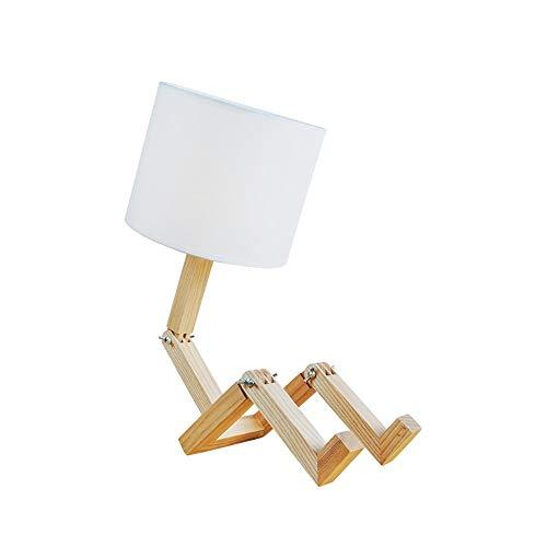 L.W.S Lámpara de Escritorio Lámpara lámpara de Madera Creativa Personalidad nórdica Moda Estudio Dormitorio Junto a la Cama de Madera sólido Madera Robot Plegable lámpara de Mesa