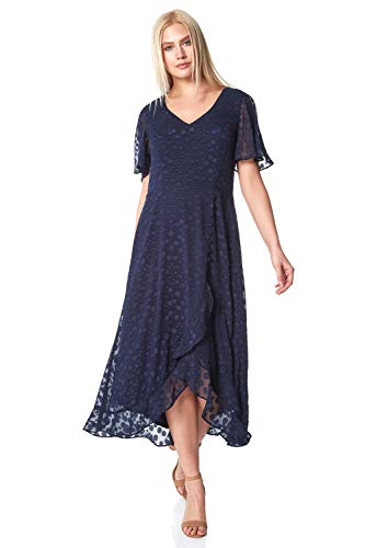 Roman Originals Women Spot Frill Asymmetric Midi Dress - Ladies Occasionwea Daywear Summer Garden Party Cruise Wedding Guest Holiday Ascot Races Days Fit and Flare Dress - Navy - Size 16