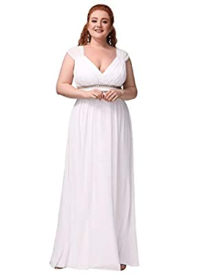 Ever-Pretty Women's Plus Size V-Neck Formal Bridesmaid Party Evening Dress White US18