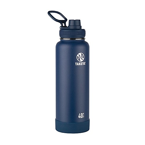 Takeya Actives Insulated Stainless Steel Water Bottle with Spout Lid, 40 oz, Midnight