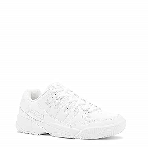 Fila Womens Double Bounce White/High Rise/Metallic Silver Pickleball Shoes, 9.5