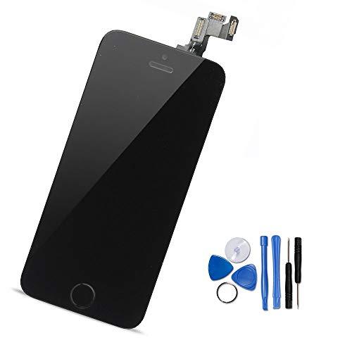 Yodoit iPhone5s/SE フロントパネル 画面 液晶 取り付け簡単化 (ホームボタン +スピーカー +カメラ +近接センサーが含まれる) 修理交換用 タッチパネル ガラス LCD スクリーン 修理パーツ デジタイザ 工具+画面保護フィルム付属 (黒 4インチ)