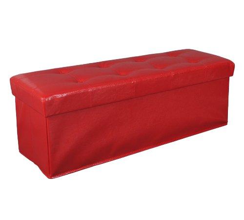 ts-ideen Panchetta POUF contenitore a 3 posti in similpelle imbottita. Rossa.