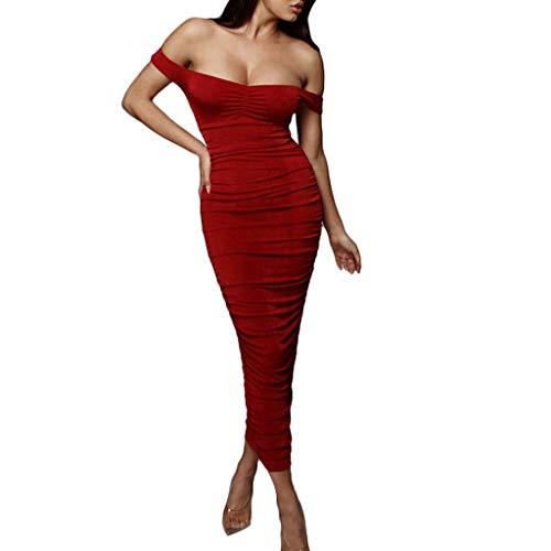 MAYOGO Damen Kleider Cocktailkleid Damen Lang Vintage Off Shoulder Bodycon Kleid Etuikleid Schulterfrei A-Linie Maxi Bleistiftkleid Pencil Dress Abendkleider