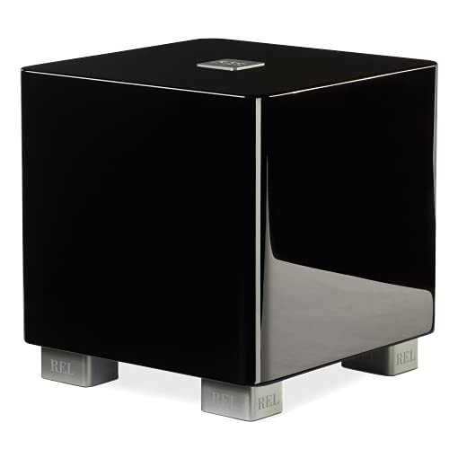 REL Acoustics T/5x Subwoofer, 8 inch Down-Firing Driver, Arrow Wireless Port, High Gloss Black