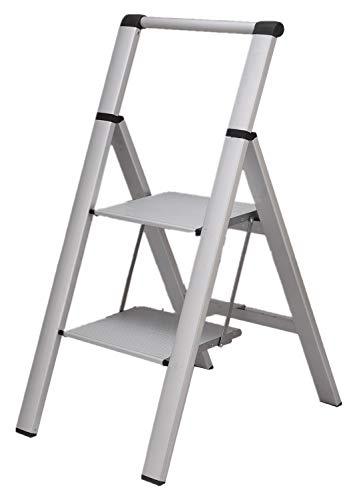 ONE STEP スタイリッシュ 脚立 アルミ 薄型踏み台 踏み台 折りたたみ おしゃれ 軽量 折りたたみ脚立 ステップ台 ステップラダー はしご 梯子 (手すり付き2段)