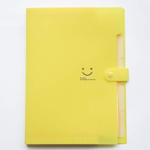 Plastic Extension Folder Akkordeon Document Manager 5 Pocket A4 mit Schnalle für Schulen und Büros, 3 Stück