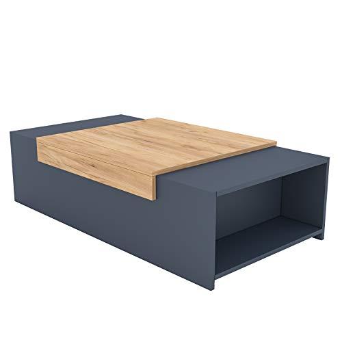 Table basse 110 x 60,3 x 31,6 cm - Table basse avec compartiments de rangement - 2 variantes de couleurs (graphite/chêne doré)