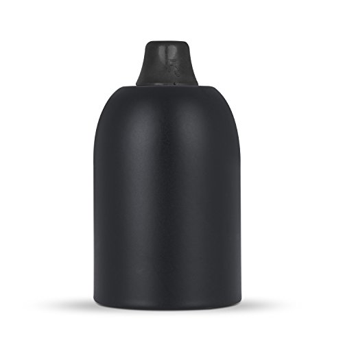 Lampenfassung E27 & Fassungshülse Metall - schwarz, inkl. Zugentlastung Kunststoff