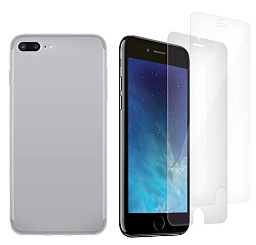 ICOVERI Pack Funda Gel Transparente antigolpes Compatible con iPhone 7 Plus /...