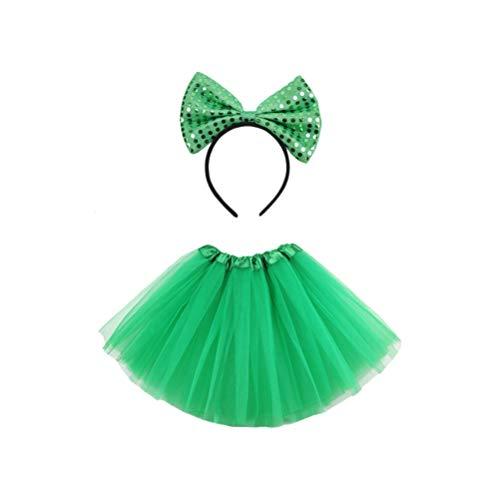 VALICLUD St. Patricks Day Tutu Rock Bowknot Stirnband Set Grün Ballett Tanzkleid Gaze Rock Pailletten Haar Reifen Irischen Kostüm Anzug für Erwachsene Paddy Day Party Liefert
