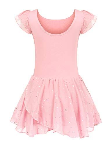 trudge Kinder Ballettkleidung Ballettkleid Mädchen Kurzarm Baumwolle Balletttrikot Ballettanzug Tanzkleid Tanzbody mit Rock Tütü, 130, Rosa