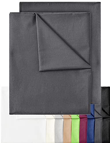 GREEN MARK Textilien 2er Pack Klassische Bettlaken Betttuch Laken Leintuch Haustuch 100% Baumwolle ohne Gummizug vielen Größen und Farben Größe: 150x250 cm, anthrazit grau