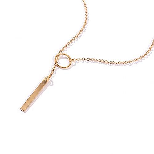 QiuYueShangMao Collar Corto de círculo de Metal de Personalidad Simple Europea y Americana, Cadena de clavícula Femenina Regalos Collar Regalo de cumpleaños