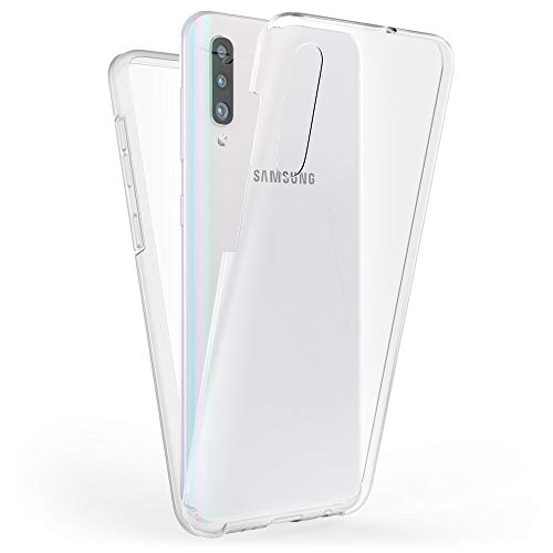 Kaliroo Handyhülle 360 Grad kompatibel mit Samsung Galaxy A70, Full-Body Schutzhülle Hardcase hinten & Displayschutz vorne mit Silikon Bumper, Slim Full-Cover Case Komplett-Schutz Hülle - Transparent