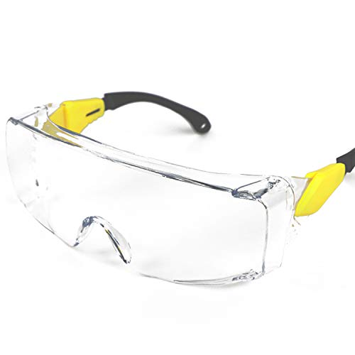 BHTOP Safety Glasses Protective Eye Wear L029 Clear Lens Anti-Fog Goggles, Over-Spec Glasses With Adjustment Frames Industrial Approved Wide-Vision For Work, Lab, Construction