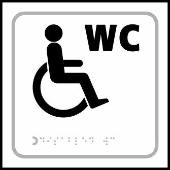 Behinderten WC Symbol–taktyle Zeichen 150x 150mm