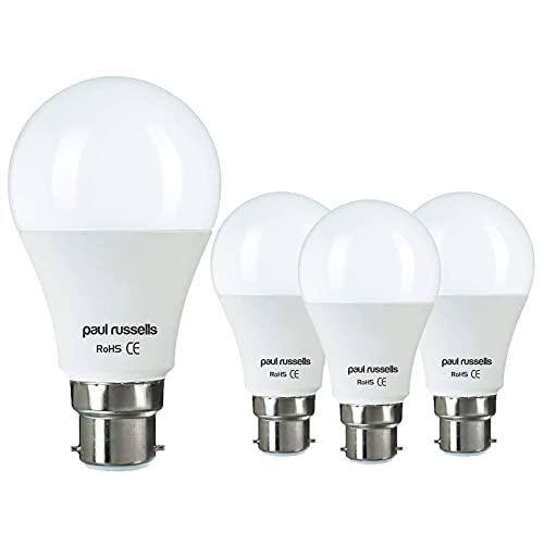 Paquete de 4 bombillas LED GLS de 6 W B22 BC Bayoneta Paul Russells brillante 6 W = 50 W A60 estándar 270 haz lámpara 2700 K blanco cálido 50 W reemplazo incandescente