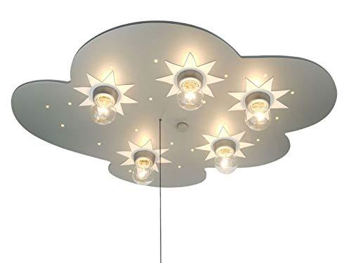 LED infantil plafón Wolke Titanio con estrellas, interruptor de cordón para función...