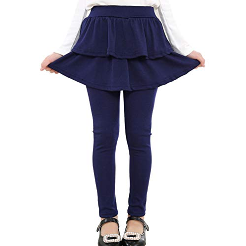 Reciy Mädchen Stretchy Ruffle Leggings Einfarbige Hosen, 8-9 Jahre, Navy