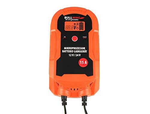 Bullwing Batterieladegerät Mikroprozessor 12/24V 15A LKW Bus Boot Traktor Vollautomatisches 9-stufige Ladegerät Orange