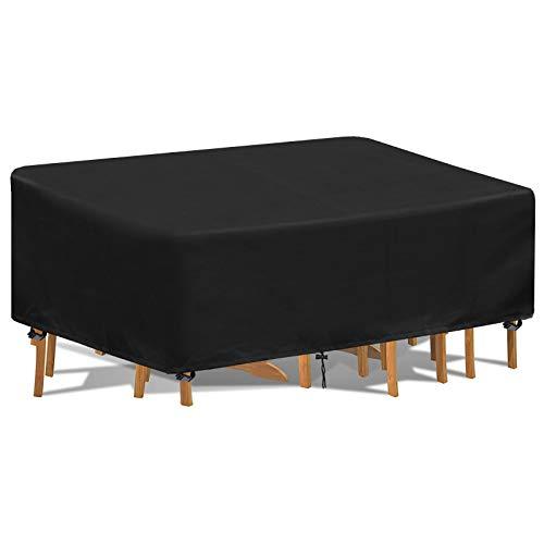 Tesmotor Fundas para Muebles de Jardín Impermeable, Funda Mesa Jardin 420D Oxford Funda Protectora para Conjuntos de Muebles 242 x 182 x 100cm