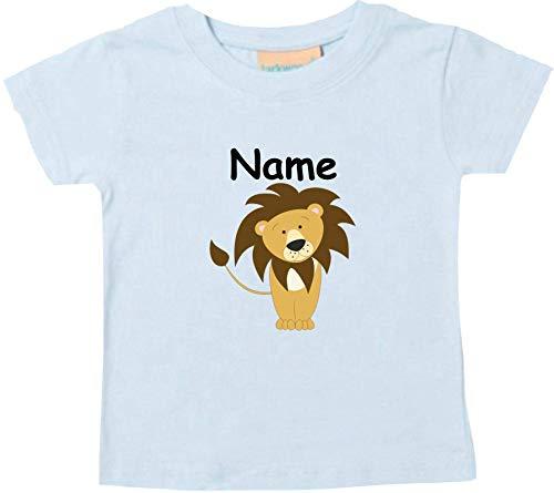 Shirtinstyle Bébé Haut, Lion Animal Motifs Nom Souhaité - Bleu Clair, 18-24 Monate