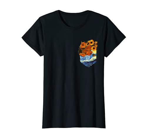 Damen Starry Night Van Gogh mit Motiv Sonnenblumen Grafik Pocket T-Shirt