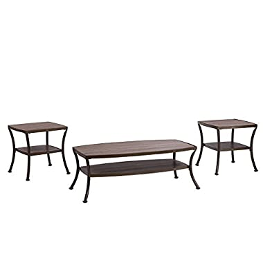 Divano Roma Furniture 3 Piece Modern Rectangular Coffee Table and 2 End Tables Living Room Set (Rustic)